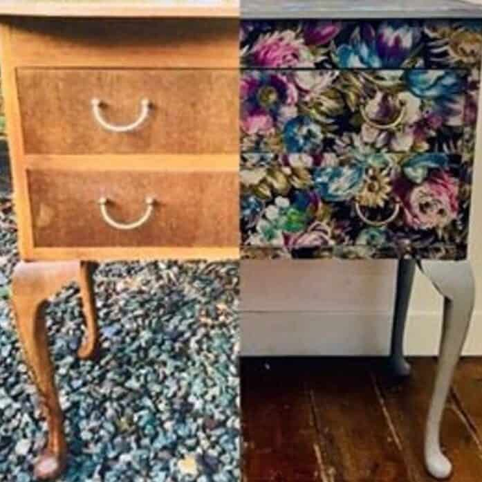 Before after Fabric Decoupage Workshop