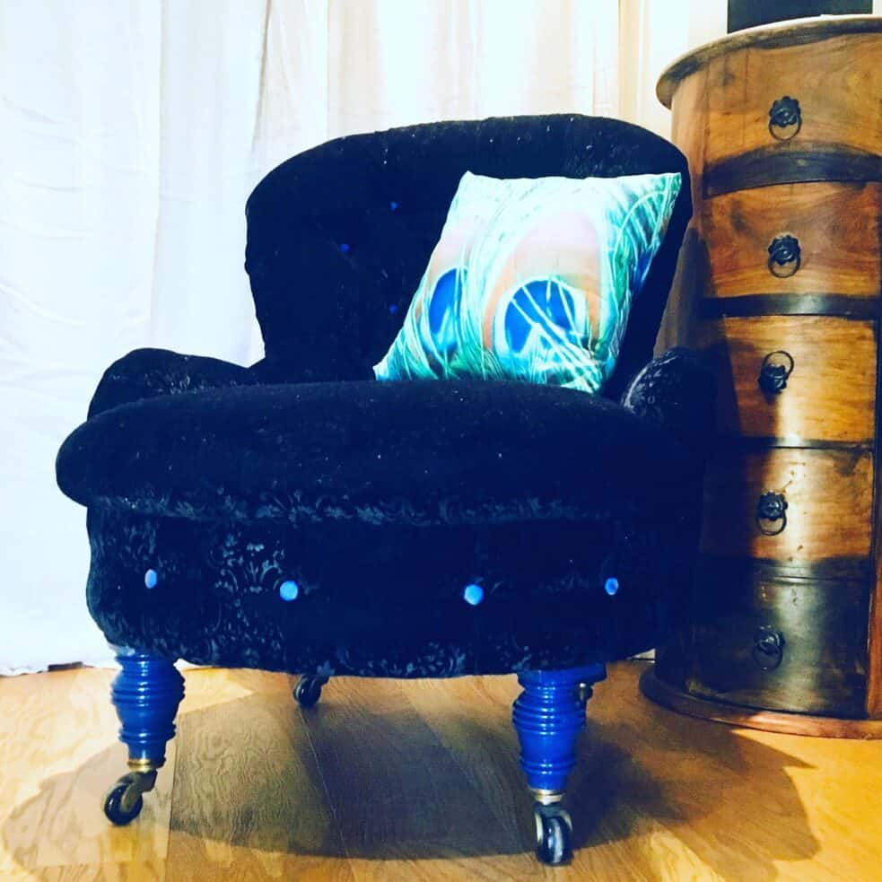 Bo Ho Luxe Traditionally Upholstered Black Brocade Velvet Nursing Chair with Blue legs and button detail