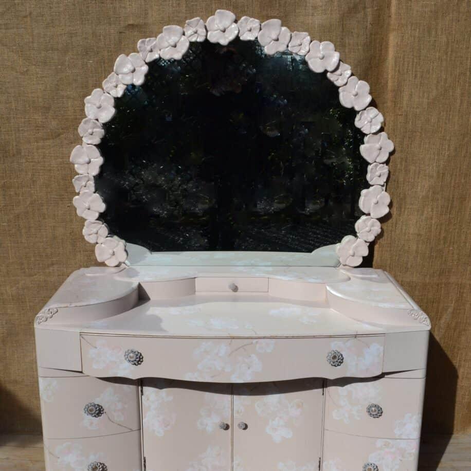 REvamp Boutique Barbola inspired mirror hand painted flowers Dressing table