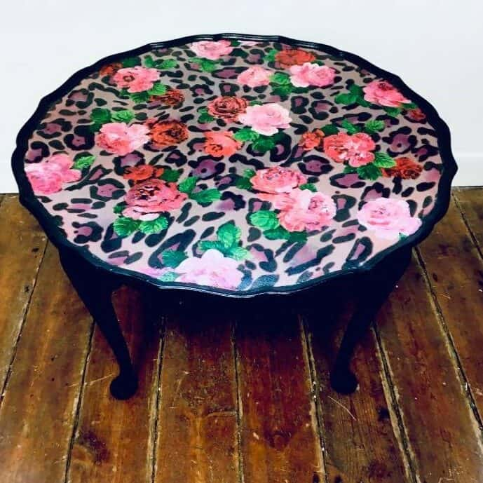 ReVamp Boutique Bo Ho Luxe Leopard print with hand painted flower table with flowers