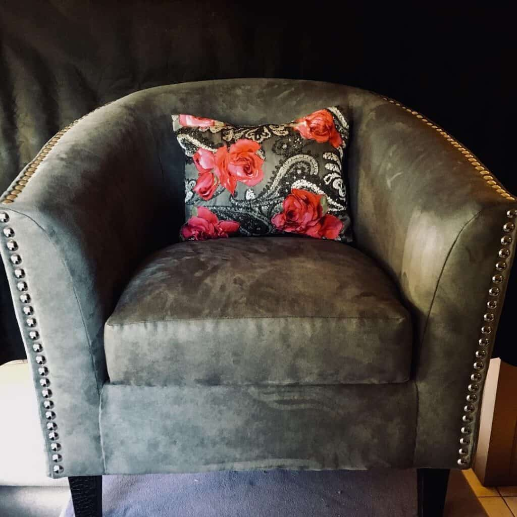 ReVamp Boutique Bo Ho Luxe Tub Chair Upholstered in Grey Faux Suede with Studded Detail