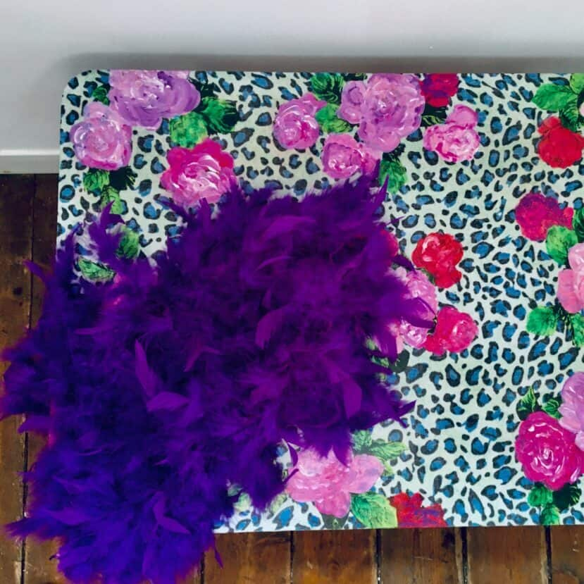 ReVamp Boutique Floral BoHo Luxe table with leopard print
